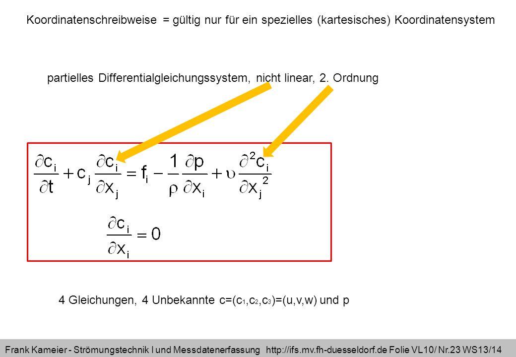 Frank Kameier - Strömungstechnik I und Messdatenerfassung http://ifs.mv.fh-duesseldorf.de Folie VL10/ Nr.23 WS13/14 4 Gleichungen, 4 Unbekannte c=(c 1,c 2,c 3 )=(u,v,w) und p partielles Differentialgleichungssystem, nicht linear, 2.