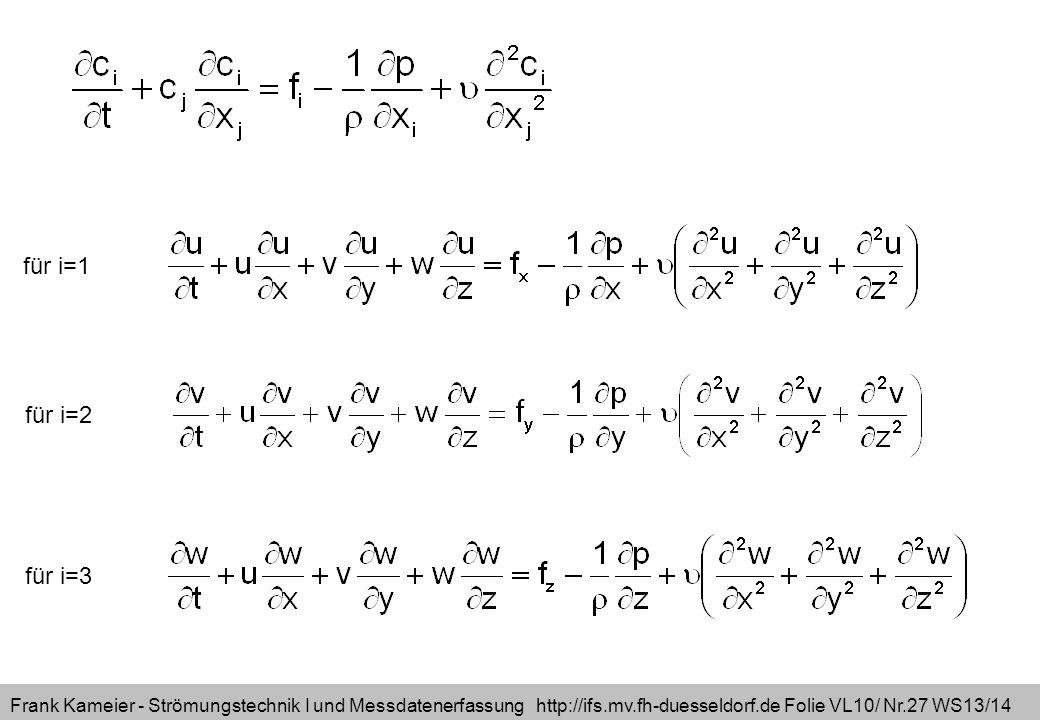 Frank Kameier - Strömungstechnik I und Messdatenerfassung http://ifs.mv.fh-duesseldorf.de Folie VL10/ Nr.27 WS13/14 für i=1 für i=2 für i=3