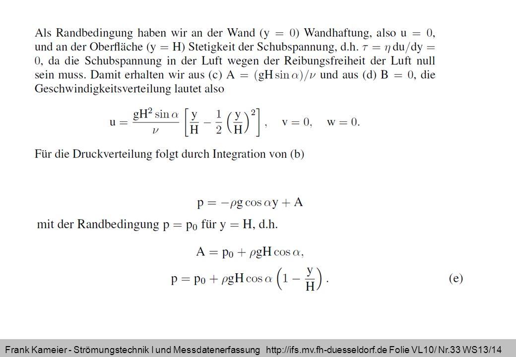 Frank Kameier - Strömungstechnik I und Messdatenerfassung http://ifs.mv.fh-duesseldorf.de Folie VL10/ Nr.33 WS13/14