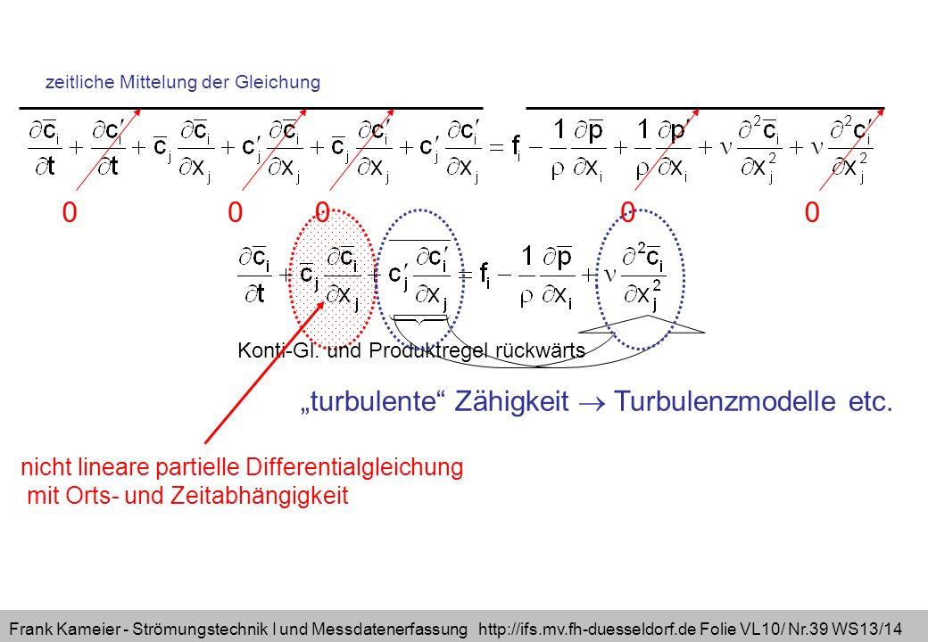 Frank Kameier - Strömungstechnik I und Messdatenerfassung http://ifs.mv.fh-duesseldorf.de Folie VL10/ Nr.39 WS13/14 turbulente Zähigkeit Turbulenzmodelle etc.