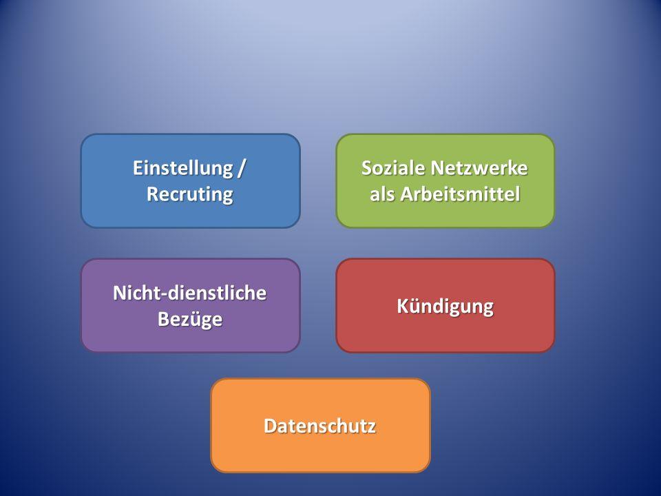 I.Soziale Netzwerke im Unternehmen II.Einstellung – Recruting III.Soziale Netzwerke als Arbeitsmittel IV.Nicht-dienstliche Bezüge V.Kündigung VI.Mitbestimmungsfragen