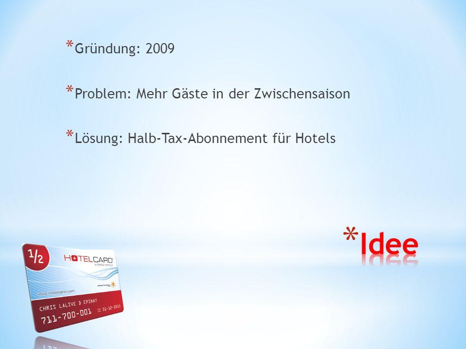 * Gründung: 2009 * Problem: Mehr Gäste in der Zwischensaison * Lösung: Halb-Tax-Abonnement für Hotels