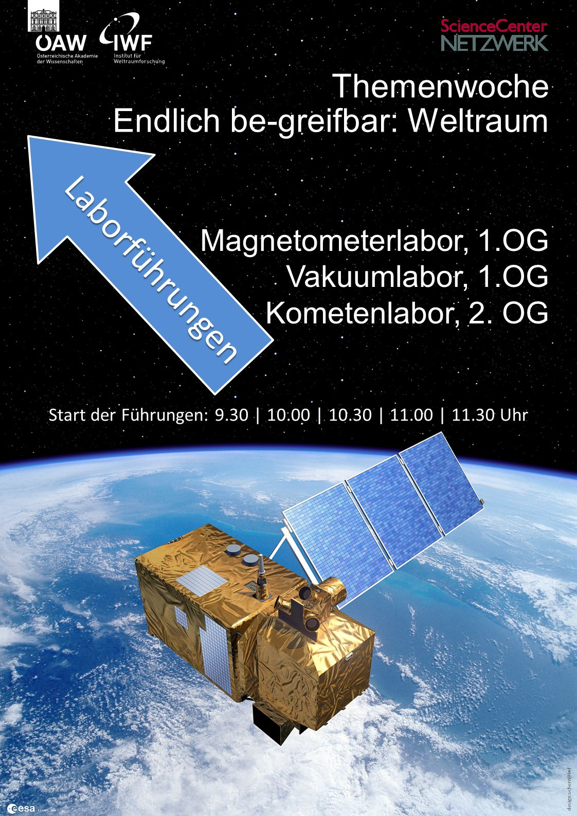 design:scherr@iwf Themenwoche Endlich be-greifbar: Weltraum Magnetometerlabor, 1.OG Vakuumlabor, 1.OG Kometenlabor, 2.