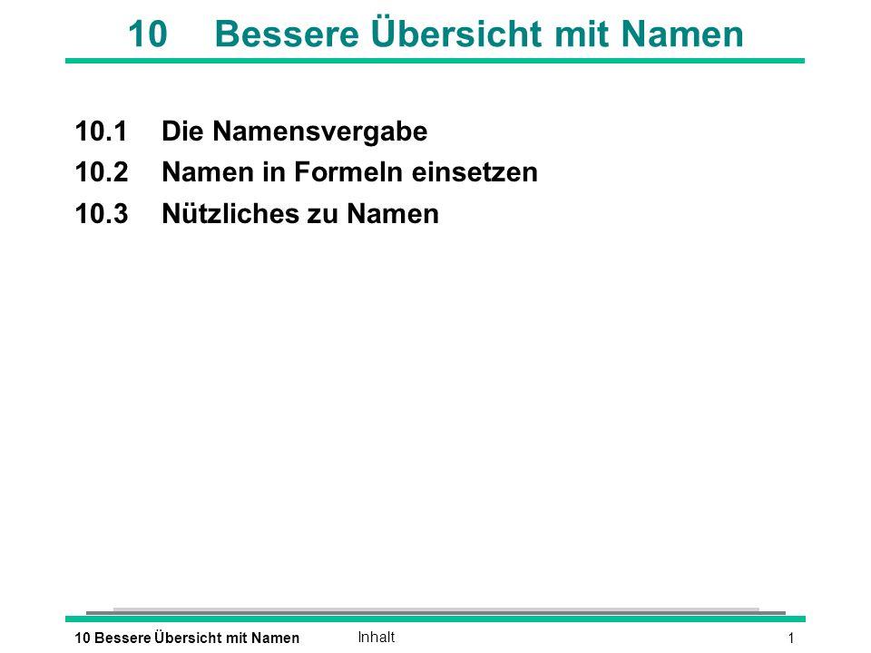 110 Bessere Übersicht mit NamenInhalt 10Bessere Übersicht mit Namen 10.1Die Namensvergabe 10.2Namen in Formeln einsetzen 10.3Nützliches zu Namen