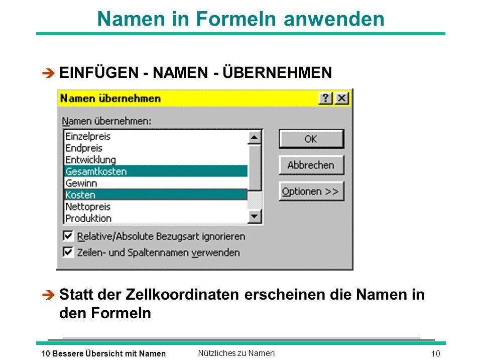 1010 Bessere Übersicht mit NamenNützliches zu Namen Namen in Formeln anwenden è EINFÜGEN - NAMEN - ÜBERNEHMEN è Statt der Zellkoordinaten erscheinen die Namen in den Formeln