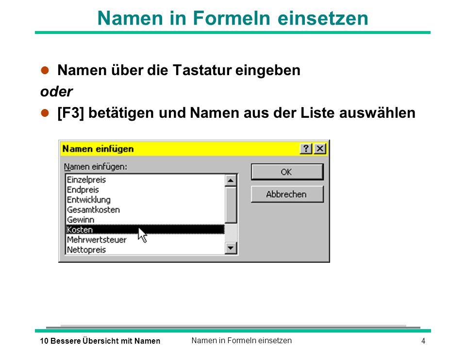410 Bessere Übersicht mit NamenNamen in Formeln einsetzen l Namen über die Tastatur eingeben oder [F3] betätigen und Namen aus der Liste auswählen