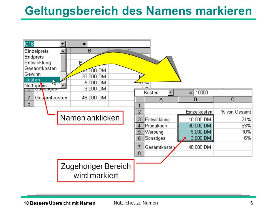 610 Bessere Übersicht mit NamenNützliches zu Namen Geltungsbereich des Namens markieren Zugehöriger Bereich wird markiert Namen anklicken