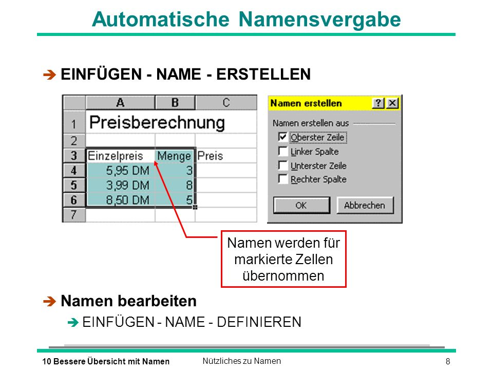 810 Bessere Übersicht mit NamenNützliches zu Namen Automatische Namensvergabe è EINFÜGEN - NAME - ERSTELLEN è Namen bearbeiten è EINFÜGEN - NAME - DEFINIEREN Namen werden für markierte Zellen übernommen