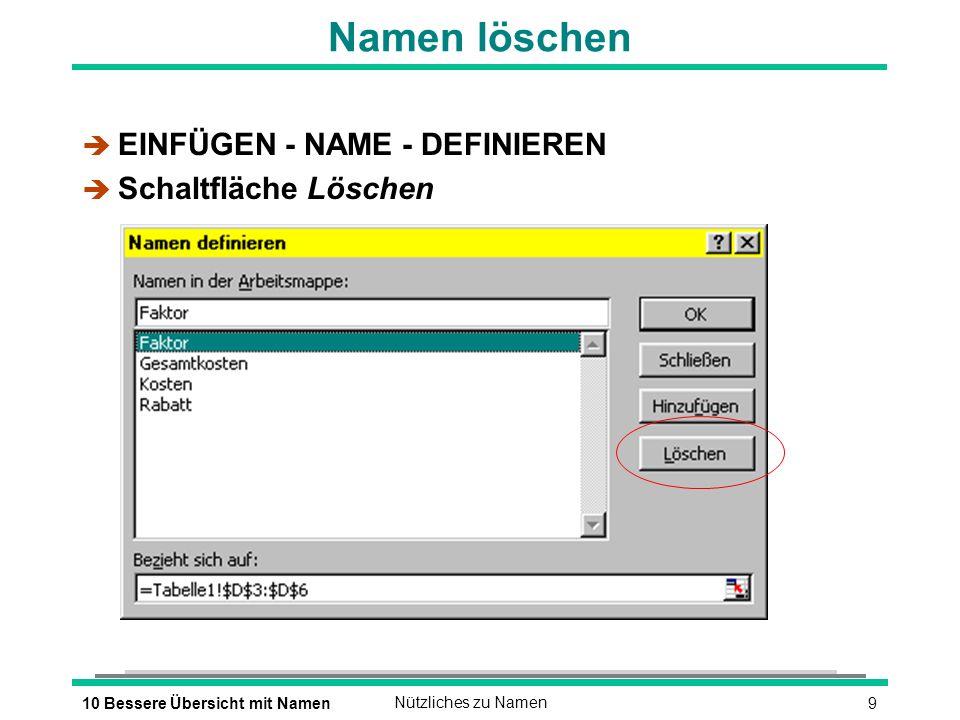 910 Bessere Übersicht mit NamenNützliches zu Namen Namen löschen è EINFÜGEN - NAME - DEFINIEREN è Schaltfläche Löschen