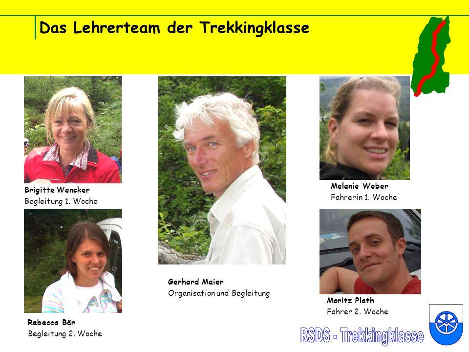 Das Lehrerteam der Trekkingklasse Brigitte Wencker Begleitung 1. Woche Rebecca Bär Begleitung 2. Woche Gerhard Maier Organisation und Begleitung Melan