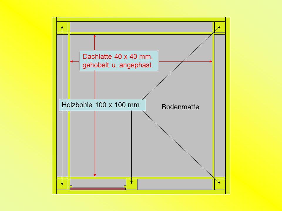 Bodenmatte Dachlatte 40 x 40 mm, gehobelt u. angephast Holzbohle 100 x 100 mm