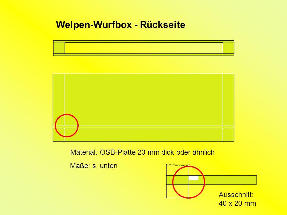 Ausschnitt: 40 x 20 mm Welpen-Wurfbox - Rückseite Material: OSB-Platte 20 mm dick oder ähnlich Maße: s.