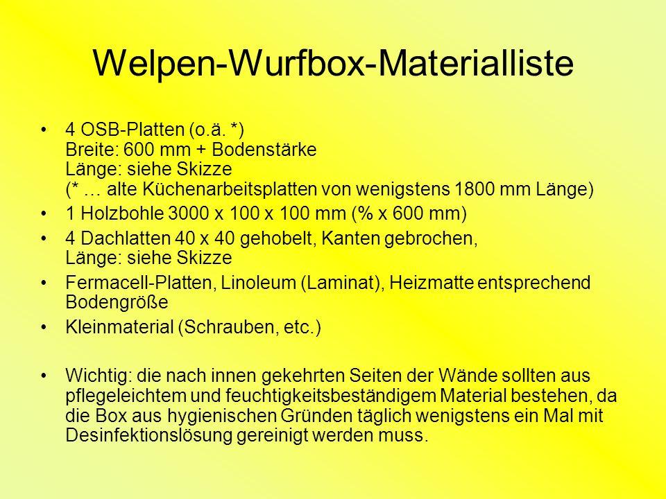 Welpen-Wurfbox-Materialliste 4 OSB-Platten (o.ä.