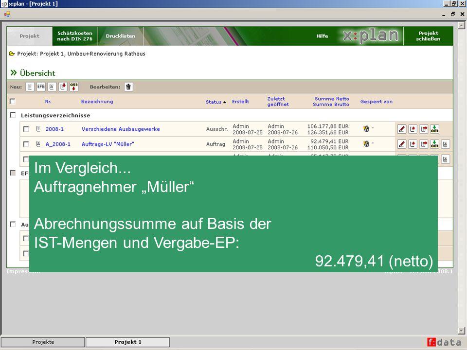 Im Vergleich... Auftragnehmer Müller Abrechnungssumme auf Basis der IST-Mengen und Vergabe-EP: 92.479,41 (netto)