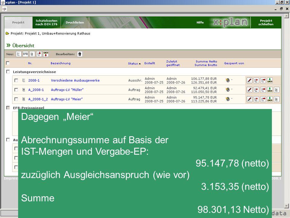 Dagegen Meier Abrechnungssumme auf Basis der IST-Mengen und Vergabe-EP: 95.147,78 (netto) zuzüglich Ausgleichsanspruch (wie vor) 3.153,35 (netto) Summ