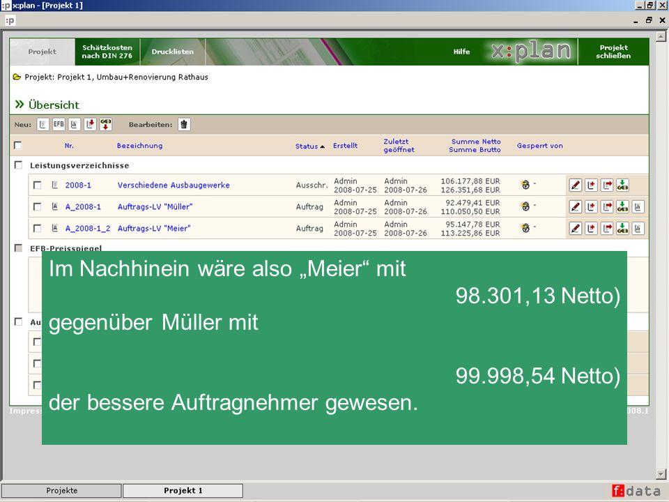 Im Nachhinein wäre also Meier mit 98.301,13 Netto) gegenüber Müller mit 99.998,54 Netto) der bessere Auftragnehmer gewesen.