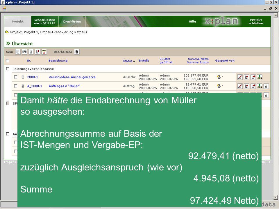 Damit hätte die Endabrechnung von Müller so ausgesehen: Abrechnungssumme auf Basis der IST-Mengen und Vergabe-EP: 92.479,41 (netto) zuzüglich Ausgleic