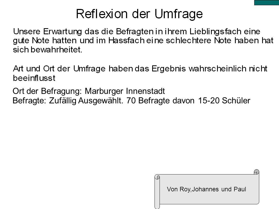 Ort der Befragung: Marburger Innenstadt Befragte: Zufällig Ausgewählt. 70 Befragte davon 15-20 Schüler Von Roy,Johannes und Paul