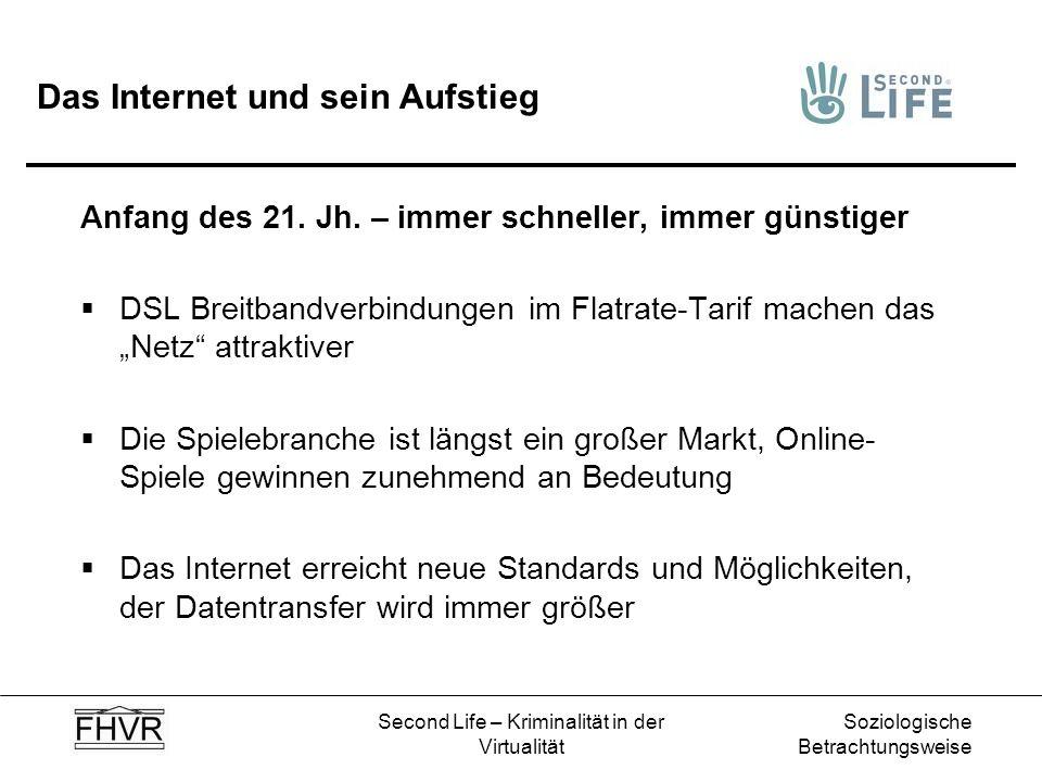 Soziologische Betrachtungsweise Second Life – Kriminalität in der Virtualität Das Internet und sein Aufstieg Anfang des 21. Jh. – immer schneller, imm