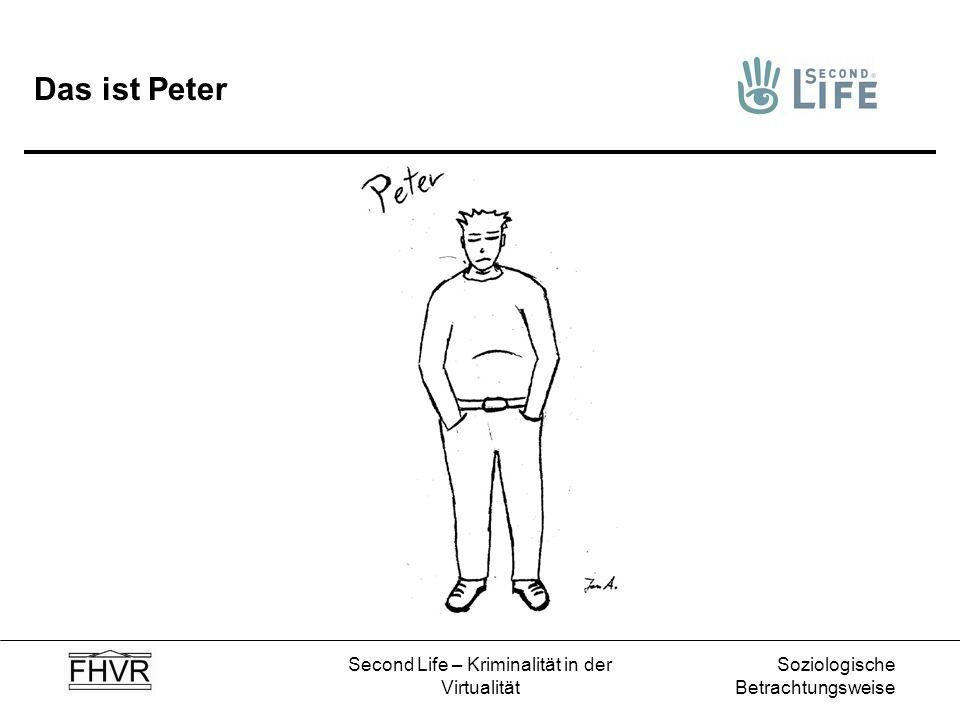 Soziologische Betrachtungsweise Second Life – Kriminalität in der Virtualität Peter besucht die Schule