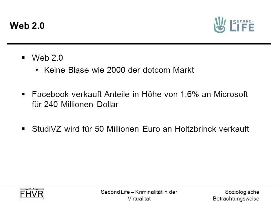 Soziologische Betrachtungsweise Second Life – Kriminalität in der Virtualität Web 2.0 Keine Blase wie 2000 der dotcom Markt Facebook verkauft Anteile