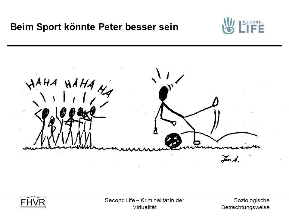 Soziologische Betrachtungsweise Second Life – Kriminalität in der Virtualität Beim Sport könnte Peter besser sein