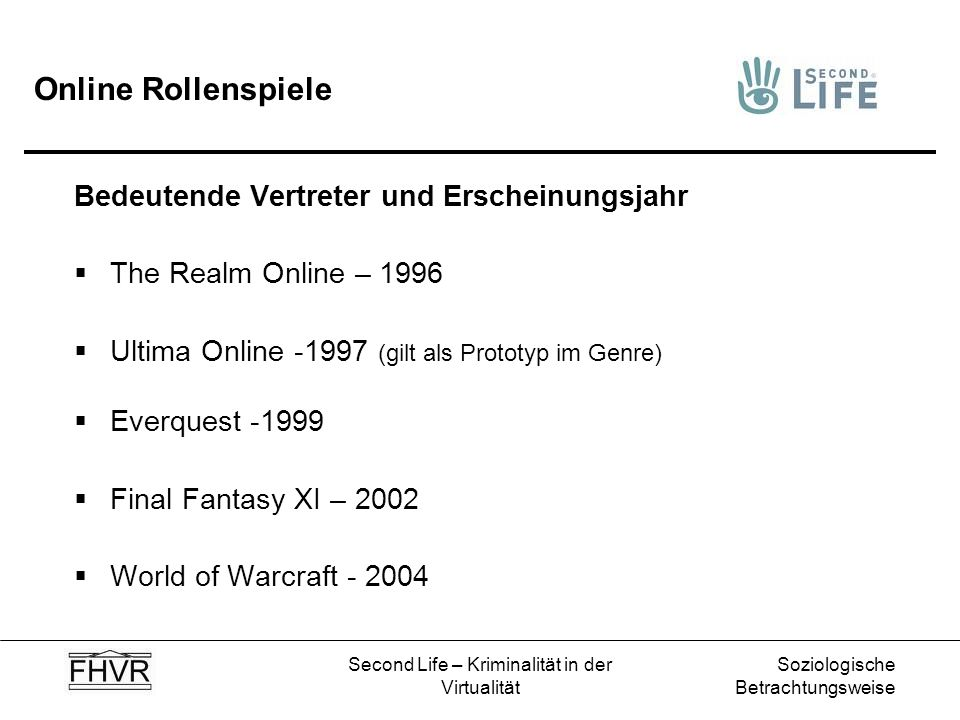 Soziologische Betrachtungsweise Second Life – Kriminalität in der Virtualität Online Rollenspiele Bedeutende Vertreter und Erscheinungsjahr The Realm