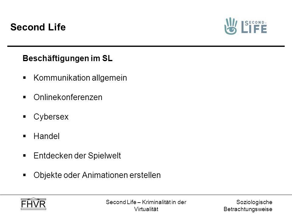 Soziologische Betrachtungsweise Second Life – Kriminalität in der Virtualität Second Life Beschäftigungen im SL Kommunikation allgemein Onlinekonferen