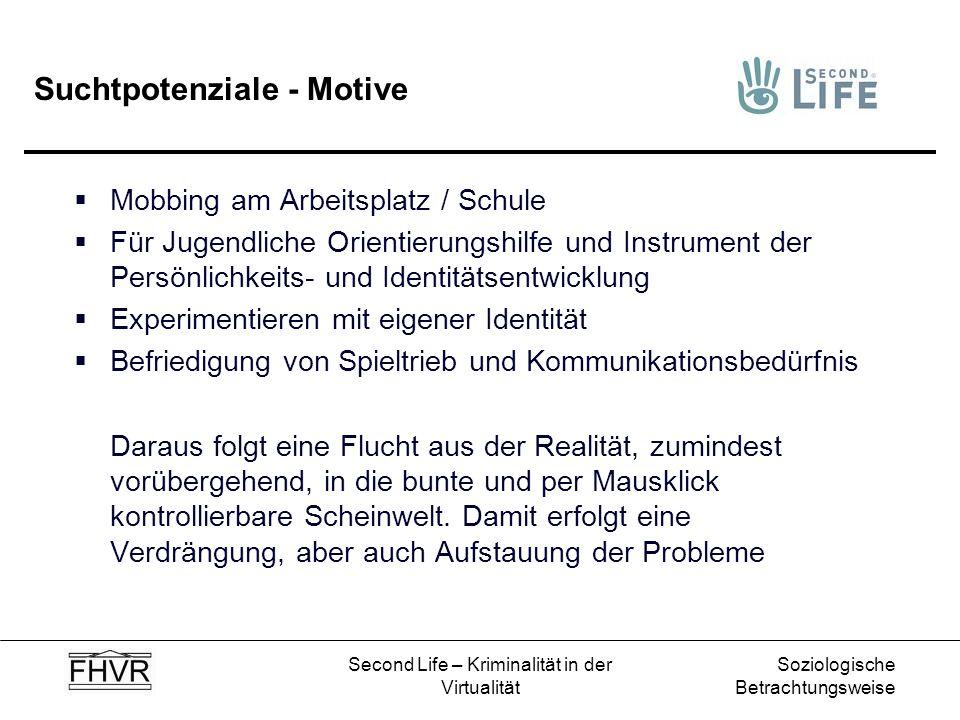 Soziologische Betrachtungsweise Second Life – Kriminalität in der Virtualität Suchtpotenziale - Motive Mobbing am Arbeitsplatz / Schule Für Jugendlich