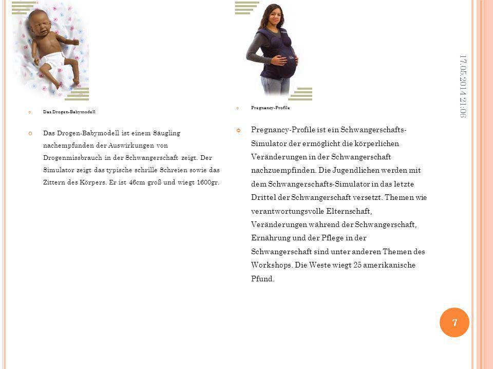T AGESABLAUF 3.Tag Puppen werden auf Selbstversorgung eingestellt Nachfrage der Befindlichkeit in der Gruppe (Wie war der Tag, Nachmittag, Nacht) Tagebuchauswertung Anhand eines Geburtstagskalenders werden die wichtigsten Hilfsangebote Schwangere und Familien in Kassel und Landkreis durchgesprochen Thema Verhütung Auswertung in der Gruppe: Was hat mir gefallen, was nicht etc. In Einzelgesprächen werden die Erfahrungen der Mutter Vater mit den Puppen anhand der Computerauswertung besprochen.