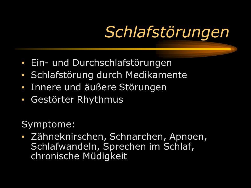 Schlafstörungen Ein- und Durchschlafstörungen Schlafstörung durch Medikamente Innere und äußere Störungen Gestörter Rhythmus Symptome: Zähneknirschen,