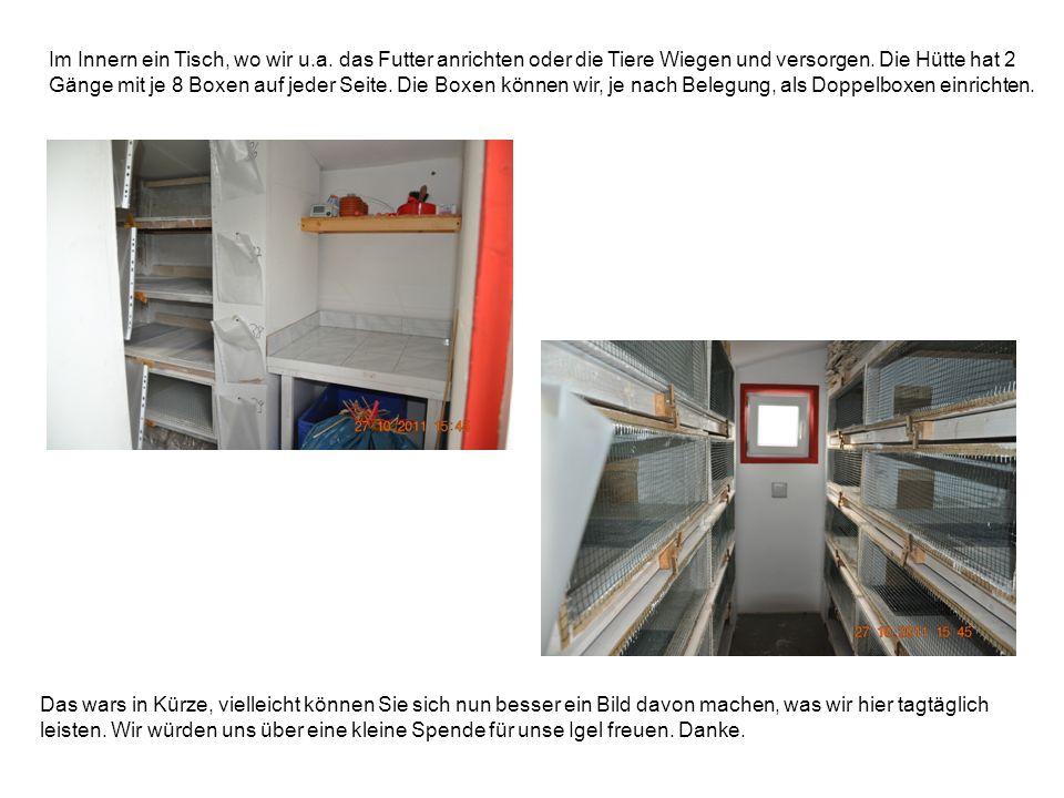 Im Innern ein Tisch, wo wir u.a. das Futter anrichten oder die Tiere Wiegen und versorgen. Die Hütte hat 2 Gänge mit je 8 Boxen auf jeder Seite. Die B