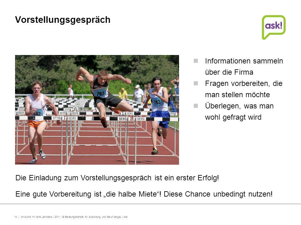 14 | Ich suche mir eine Lehrstelle | 2011 | © Beratungsdienste für Ausbildung und Beruf Aargau | bba Vorstellungsgespräch Die Einladung zum Vorstellun