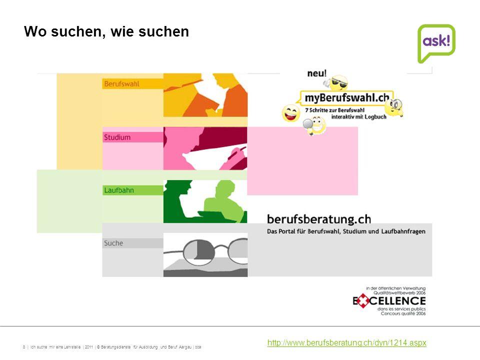 8 | Ich suche mir eine Lehrstelle | 2011 | © Beratungsdienste für Ausbildung und Beruf Aargau | bba Wo suchen, wie suchen http://www.berufsberatung.ch