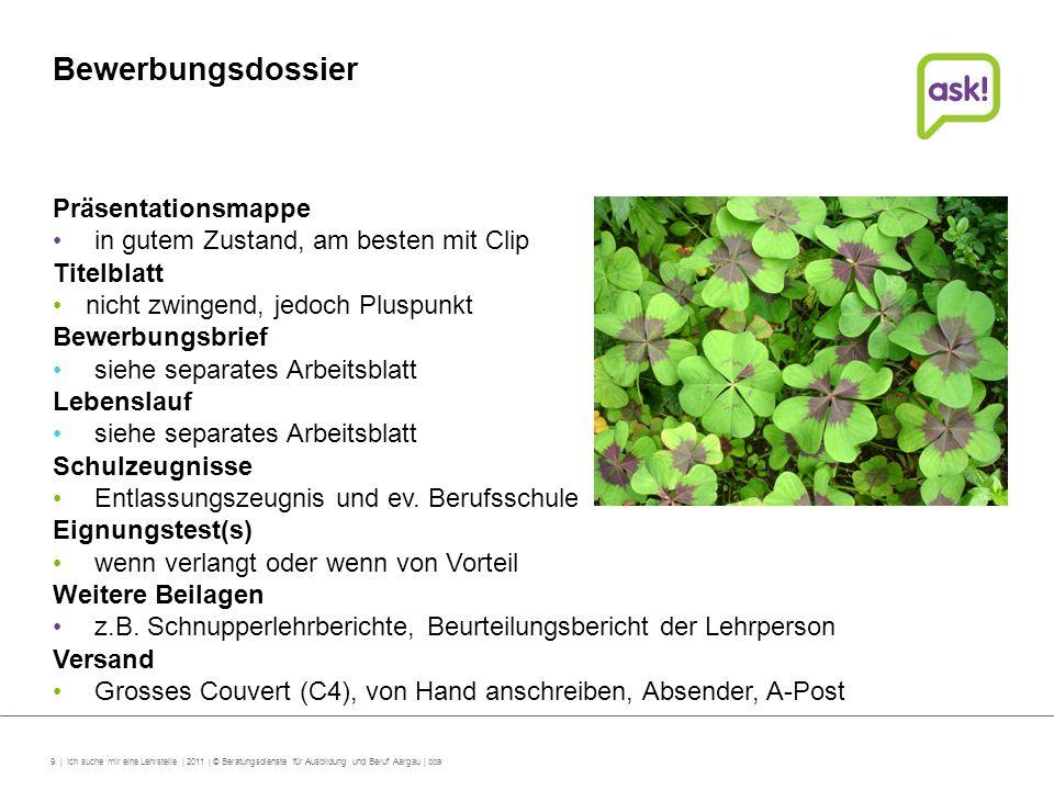 9 | Ich suche mir eine Lehrstelle | 2011 | © Beratungsdienste für Ausbildung und Beruf Aargau | bba Bewerbungsdossier Präsentationsmappe in gutem Zust