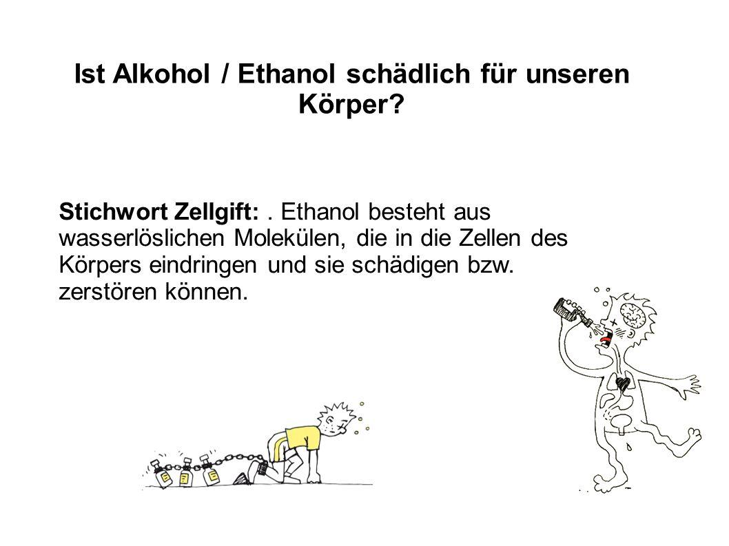 Ist Alkohol / Ethanol schädlich für unseren Körper? Stichwort Zellgift:. Ethanol besteht aus wasserlöslichen Molekülen, die in die Zellen des Körpers