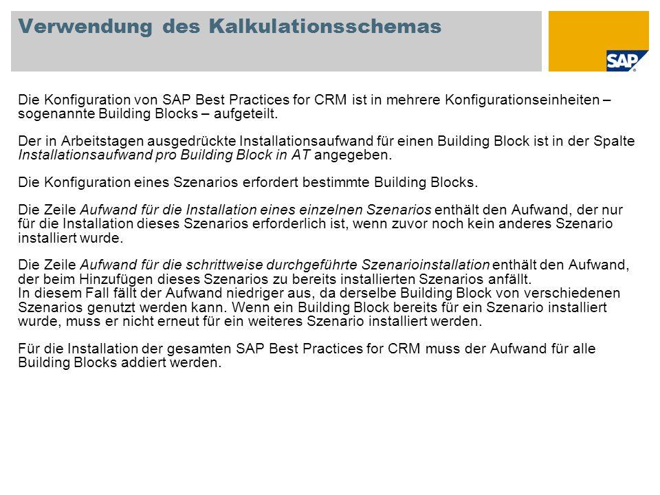 Verwendung des Kalkulationsschemas Die Konfiguration von SAP Best Practices for CRM ist in mehrere Konfigurationseinheiten – sogenannte Building Block