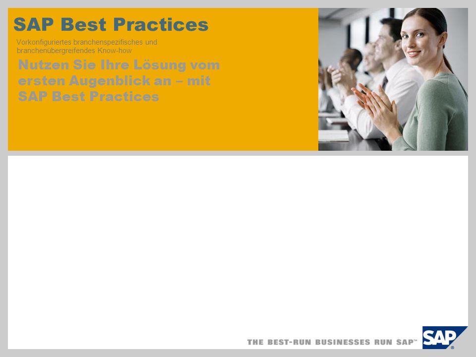 SAP Best Practices Vorkonfiguriertes branchenspezifisches und branchenübergreifendes Know-how Nutzen Sie Ihre Lösung vom ersten Augenblick an – mit SAP Best Practices