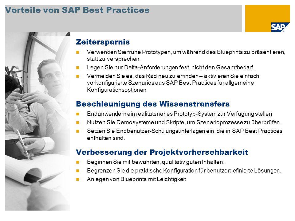 Vorteile von SAP Best Practices Zeitersparnis Verwenden Sie frühe Prototypen, um während des Blueprints zu präsentieren, statt zu versprechen.