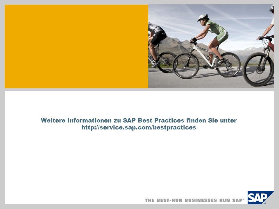 Weitere Informationen zu SAP Best Practices finden Sie unter http://service.sap.com/bestpractices