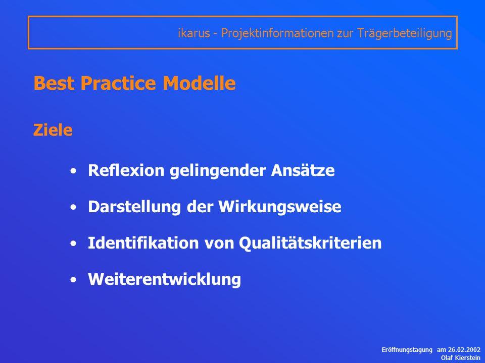 Eröffnungstagung am 26.02.2002 Olaf Kierstein Best Practice Modelle Ziele Reflexion gelingender Ansätze Darstellung der Wirkungsweise Identifikation von Qualitätskriterien Weiterentwicklung ikarus - Projektinformationen zur Trägerbeteiligung