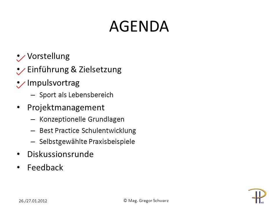 AGENDA Vorstellung Einführung & Zielsetzung Impulsvortrag – Sport als Lebensbereich Projektmanagement – Konzeptionelle Grundlagen – Best Practice Schu