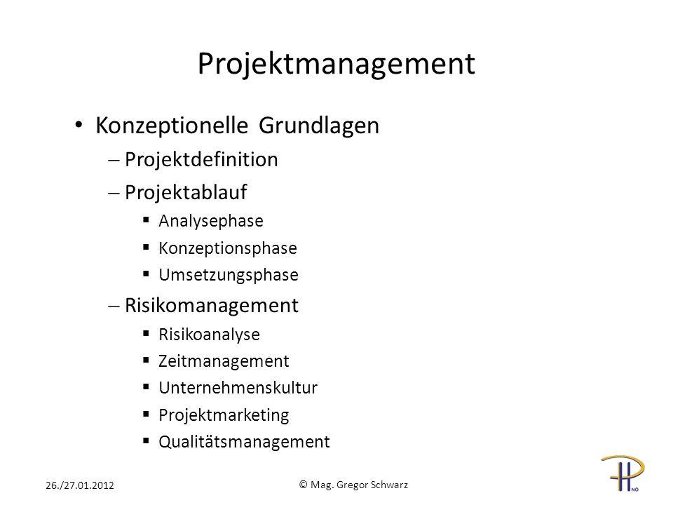 Projektmanagement Konzeptionelle Grundlagen Projektdefinition Projektablauf Analysephase Konzeptionsphase Umsetzungsphase Risikomanagement Risikoanaly