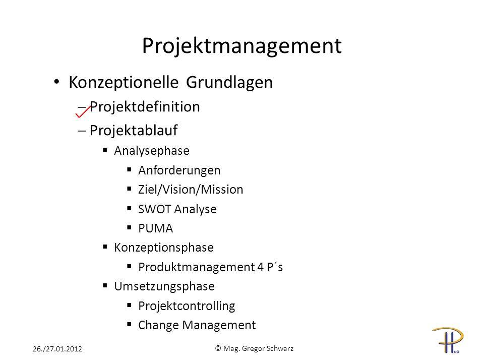 Projektmanagement Konzeptionelle Grundlagen Projektdefinition Projektablauf Analysephase Anforderungen Ziel/Vision/Mission SWOT Analyse PUMA Konzeptio