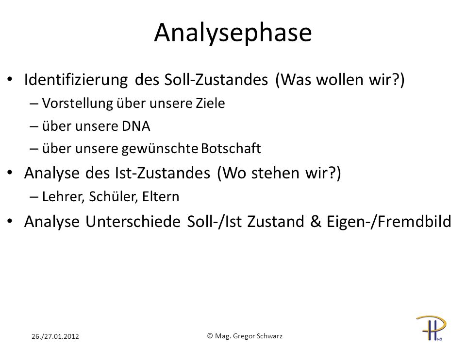 Analysephase Identifizierung des Soll-Zustandes (Was wollen wir?) – Vorstellung über unsere Ziele – über unsere DNA – über unsere gewünschte Botschaft