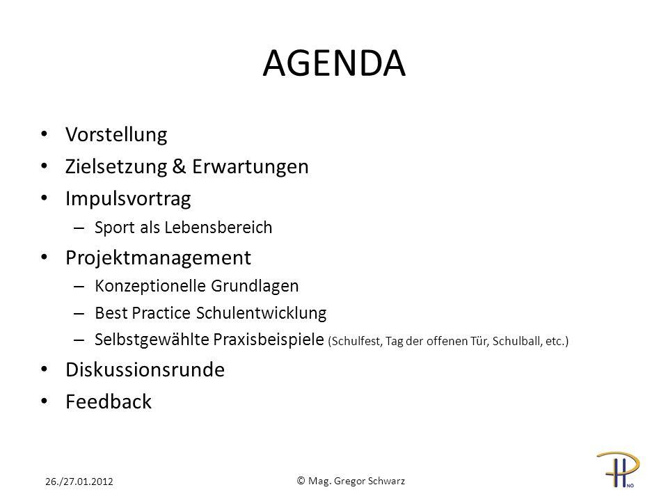 AGENDA Vorstellung Zielsetzung & Erwartungen Impulsvortrag – Sport als Lebensbereich Projektmanagement – Konzeptionelle Grundlagen – Best Practice Sch