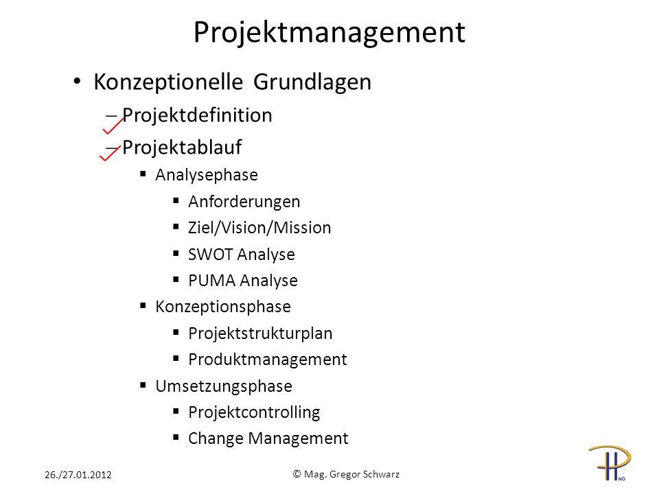 Projektmanagement Konzeptionelle Grundlagen Projektdefinition Projektablauf Analysephase Anforderungen Ziel/Vision/Mission SWOT Analyse PUMA Analyse K