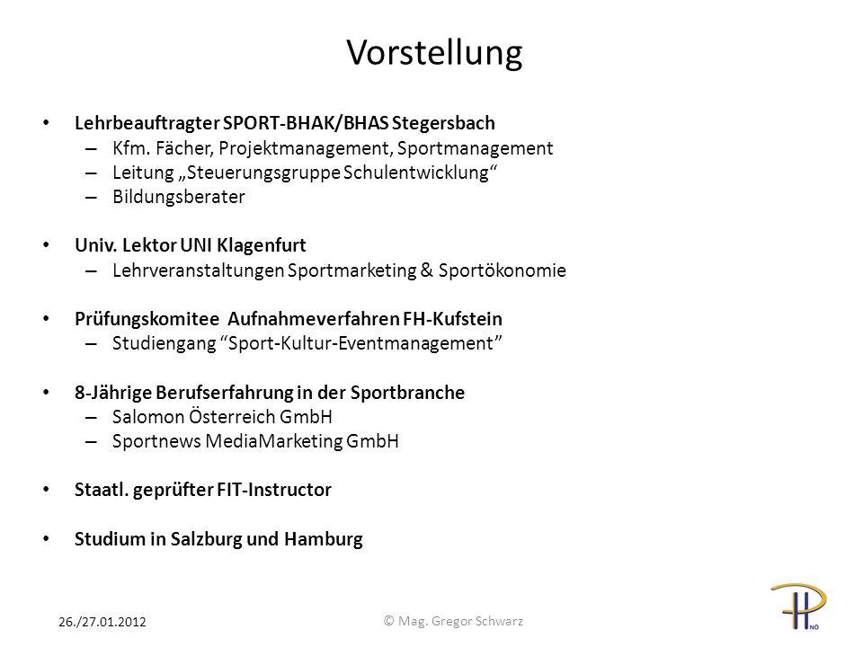Vorstellung Lehrbeauftragter SPORT-BHAK/BHAS Stegersbach – Kfm. Fächer, Projektmanagement, Sportmanagement – Leitung Steuerungsgruppe Schulentwicklung