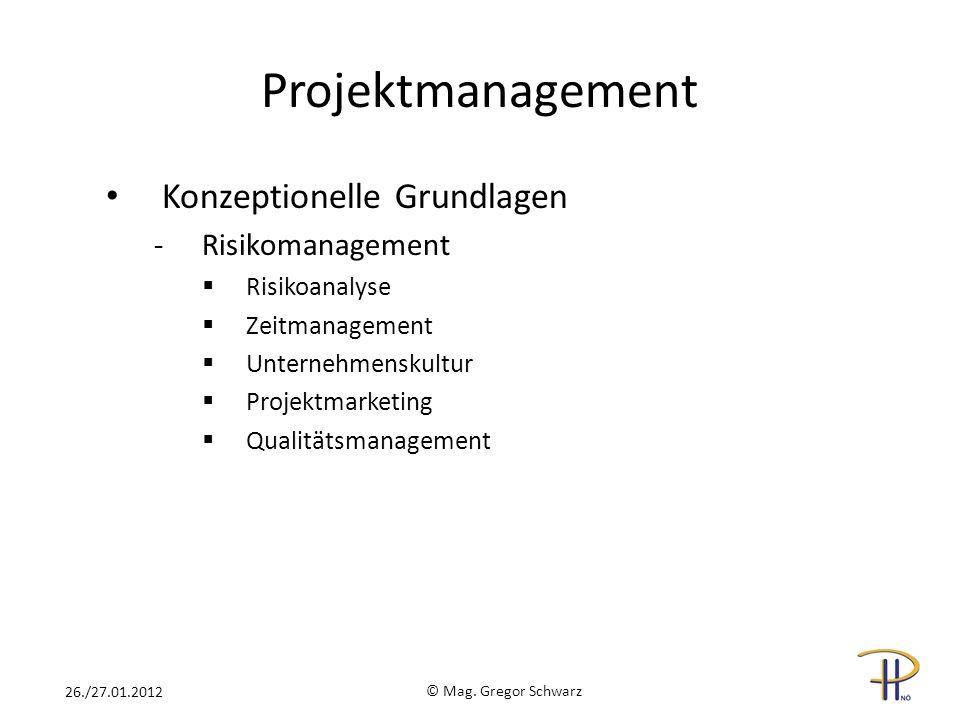Projektmanagement Konzeptionelle Grundlagen -Risikomanagement Risikoanalyse Zeitmanagement Unternehmenskultur Projektmarketing Qualitätsmanagement © Mag.
