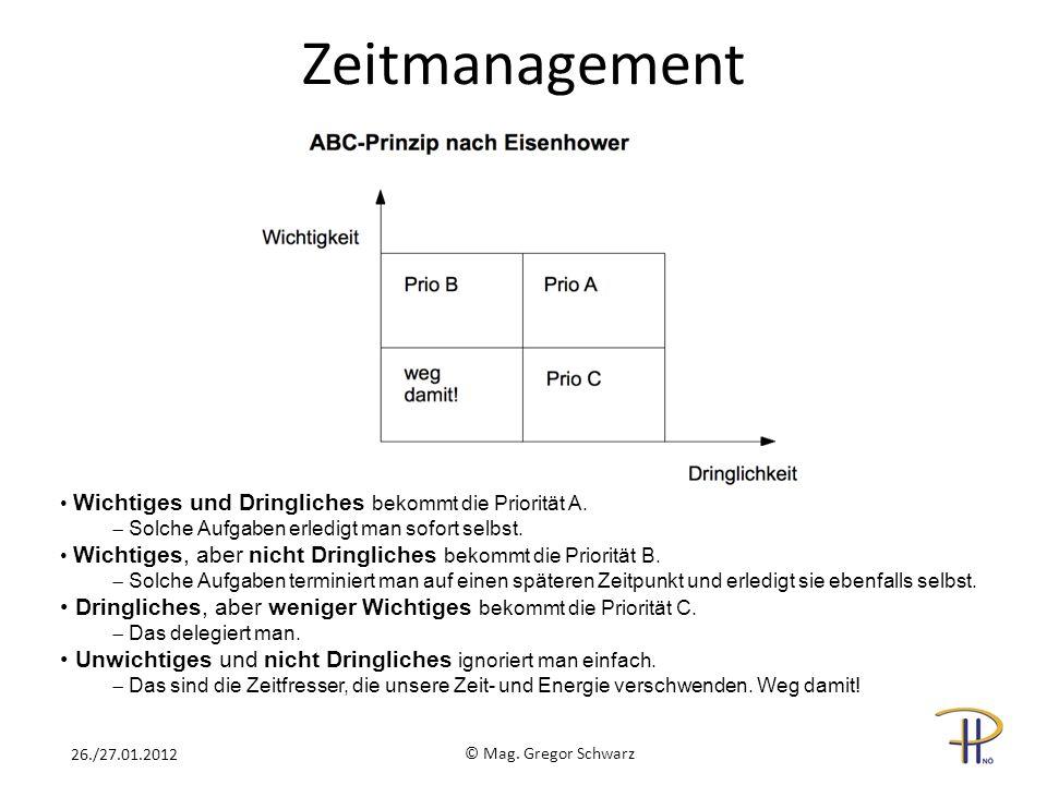 Zeitmanagement © Mag. Gregor Schwarz 26./27.01.2012 Wichtiges und Dringliches bekommt die Priorität A. Solche Aufgaben erledigt man sofort selbst. Wic